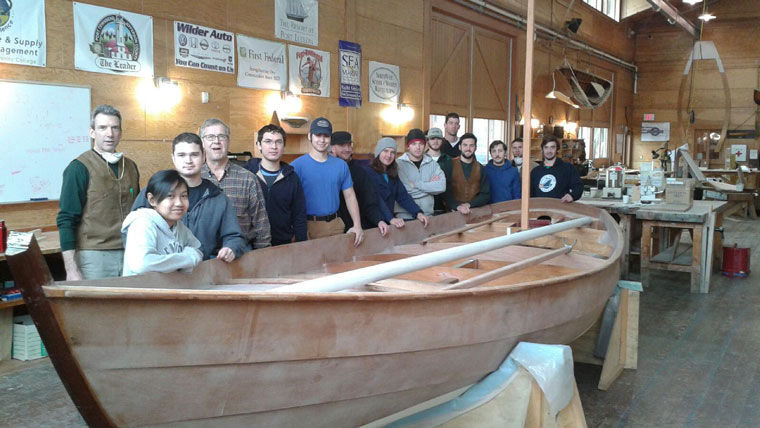 Northwest School of Wooden Boatbuilding students in the Contemporary Boatbuilding program are shown in their host boatshop at the Northwest Maritime Center. (From left) Instructor Bruce Blatchley and students Neena Milton, Caleb Underwood, Chris Bingham, Chris Webb, Adam Arnett, Marty Norris, TJ Gerald, Cameron Scott, Jake Eastlick, Matt Ryan, Loren Schaumberg, Garret Cleland, Matthew Barrett and York Johnson. Submitted photo
