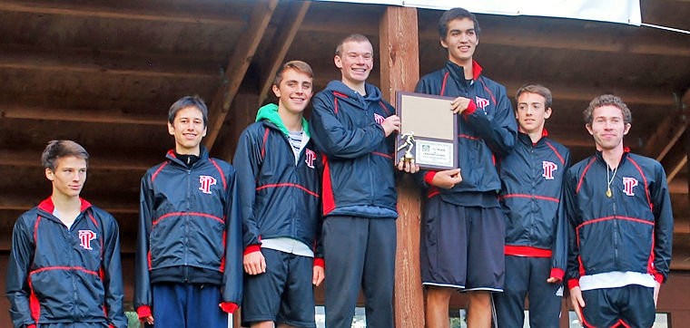 Port Townsend High School won the boys' 2014 district cross-country championship and now qualify for the state meet. Pictured are (from left) River Yearian, Alejandro Montanez, Brennan LaBrie, Ryan Clarke, Mark Streett, Jack Kingsley and Sean Dwyer. Photo by Janeen Armstrong