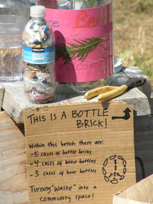 "Plastic bottles stuffed with inorganic landfill trash until they are as solid as bricks are used in the construction of earthbenches. Most benches are then cemented together with clay, sand and straw to ""withstand the test of time."""