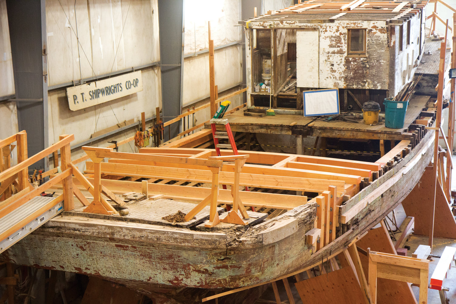 The shipwrights are rebuilding the aft deck beam structure of the Western Flyer before they begin to rebuild the stern and heel. After it sank in the Swinomish Channel, the historic Western Flyer was in poor shape. Since then, the Port Townsend Shipwrights Co-op has taken on restoration. P