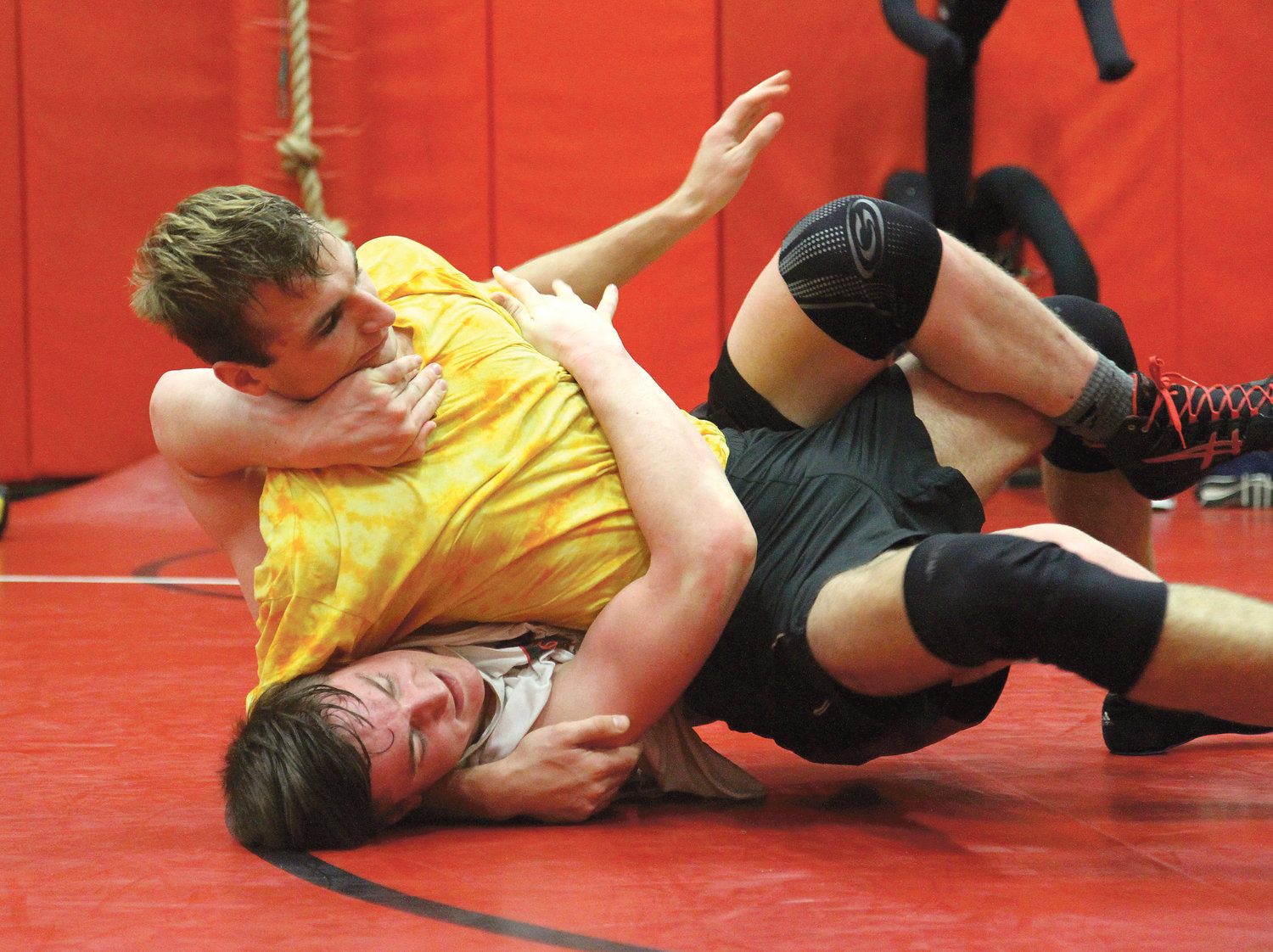 Port Townsend High School wrestlers Gabe Petrick, top, and Dylan Tracer both have their sights set on placing in the top eight in their individual weight classes Feb. 15-16 during Mat Classic XXXI at the Tacoma Dome.