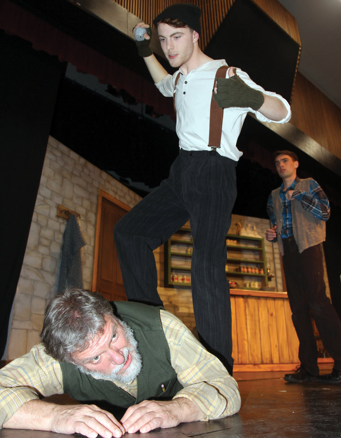 "Bodie LaBrie, as Babby Bobby, pins David Wayne Johnson, as Johnnypateenmike, during a dress rehearsal for ""The Cripple of Inishmaan,"" which debuts this weekend at Port Townsend High School."