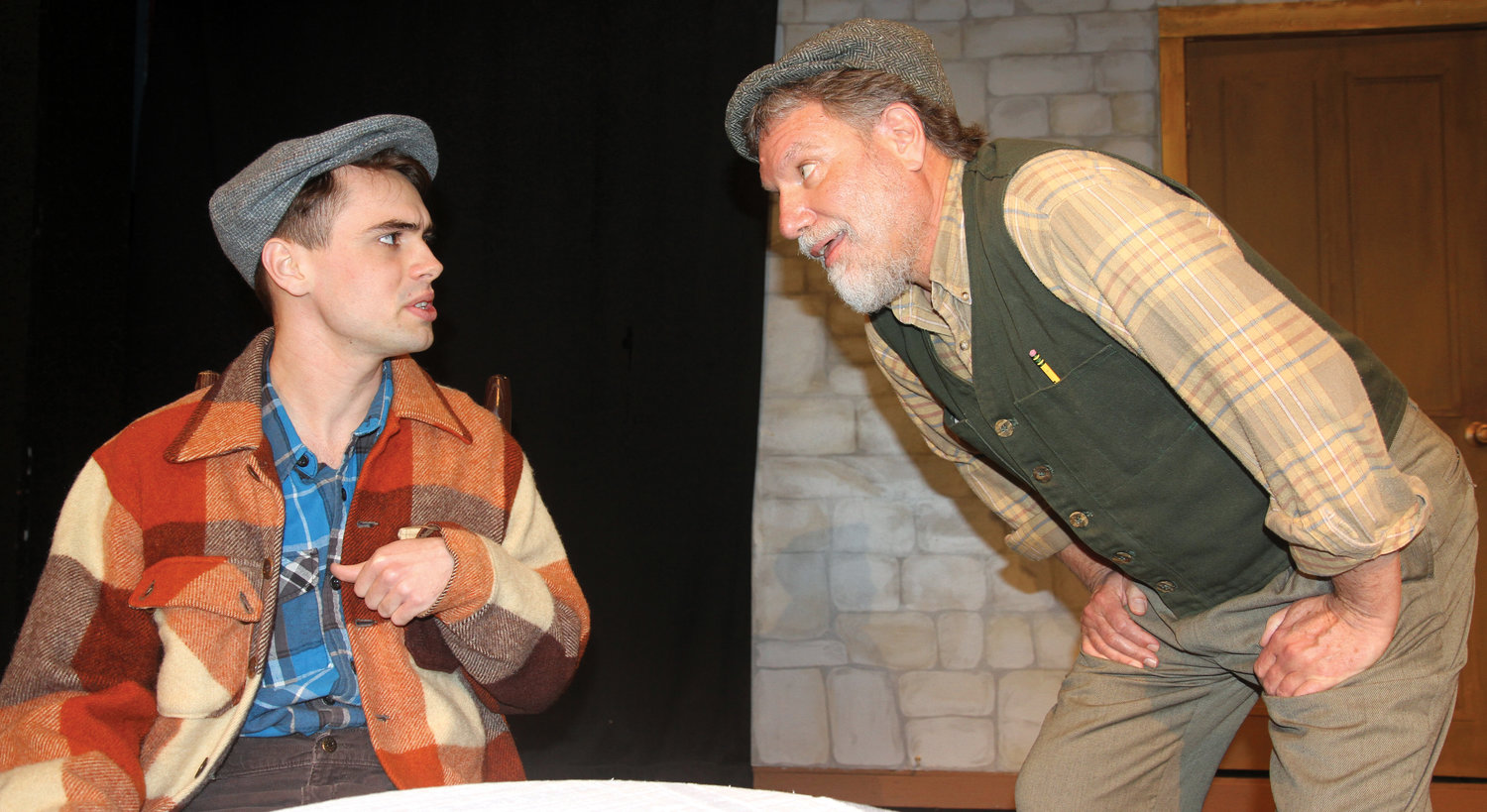 This will be the first time Tristan Riley, left, will be in a title role. He portrays Billy Claven. He is seen here with David Wayne Johnson, who portrays Johnnypateenmike.