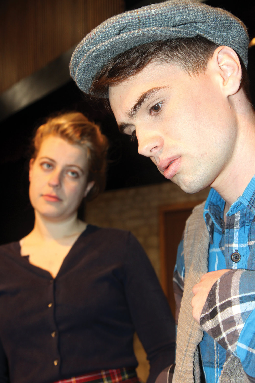 Rose Burt, left, as Helen McCormick, has been sharpening her Irish accent for the debut of the play. At right is Tristan Riley as Billy. Leader photo by Chris McDaniel.
