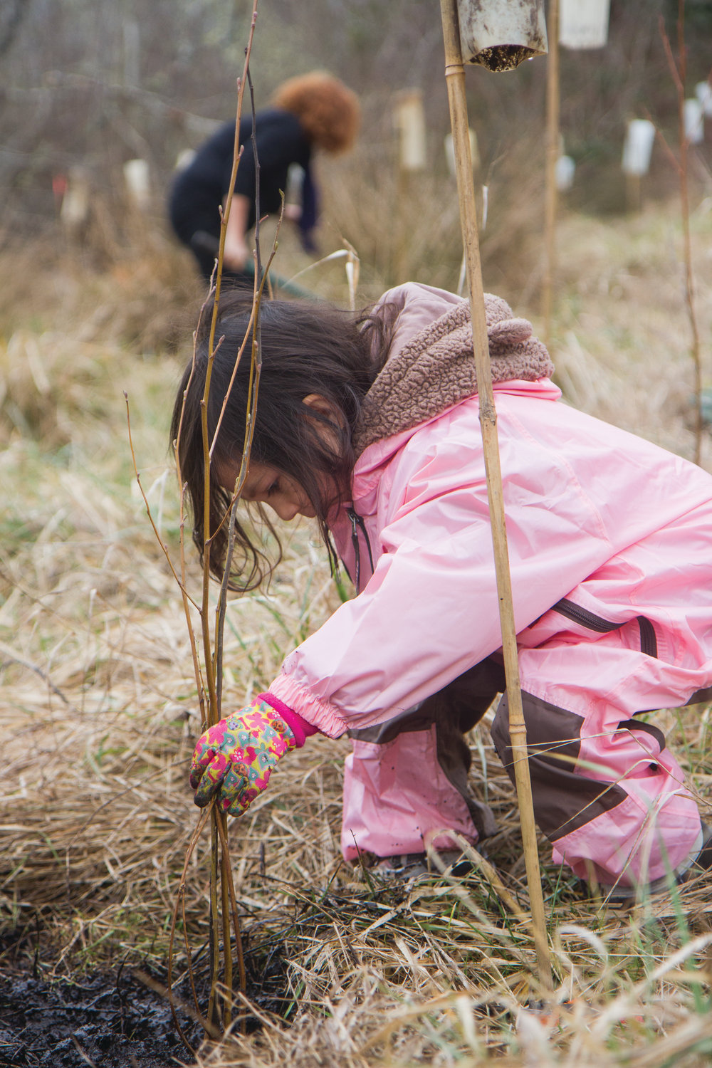 Mei Mei Galligan-Hong suited up in pink to plant trees with her mom, Molly Hong.