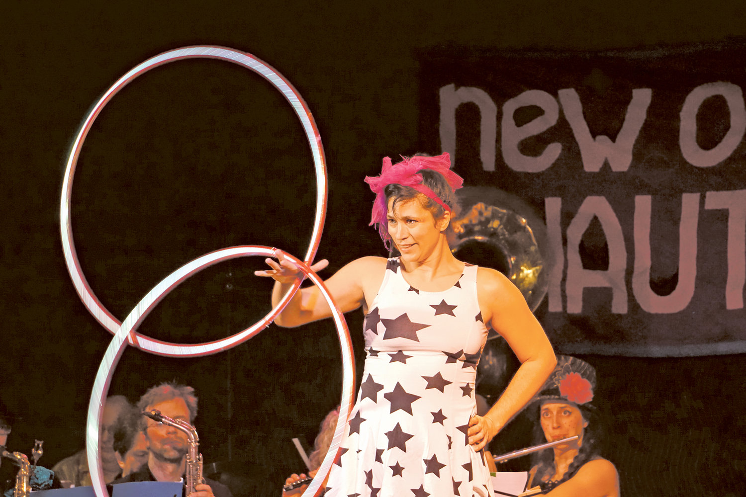 Vanessa Vortex performs hula hoop tricks during the New Old Time Chautauqua show in Port Townsend on Feb. 17.