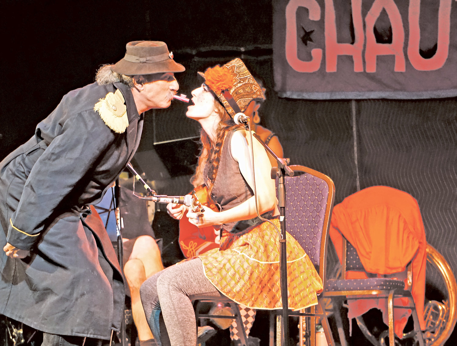 Paul Magid, one of the founders of the New Old Time Chautauqua, and singer Fiona Rose trade the kazoo.