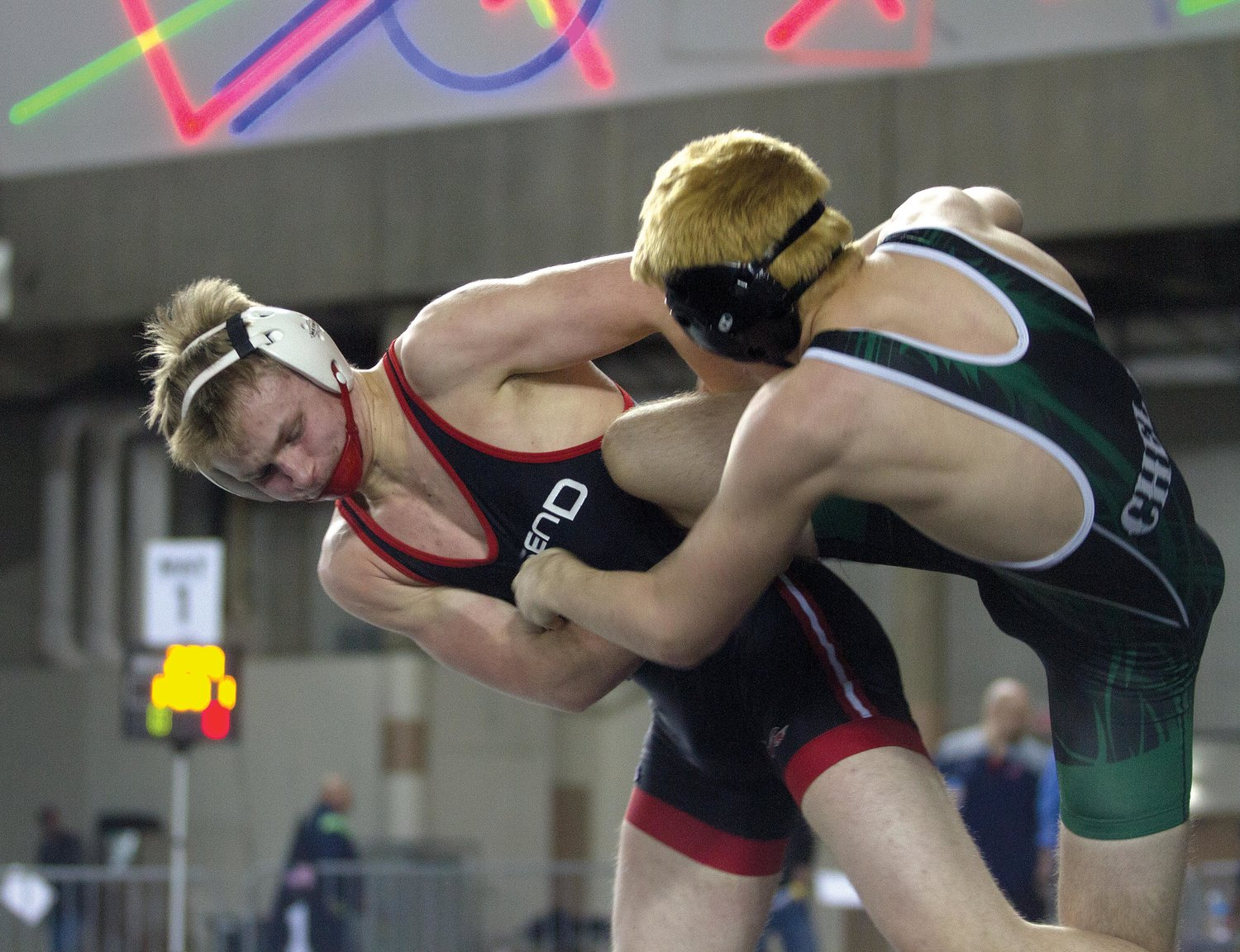 Port Townsend sophomore Odin Smith battles with Chelan sophomore Skye Malone in the 152-pound consolation first round Feb. 15. Smith won the match with a pin in 2:46.