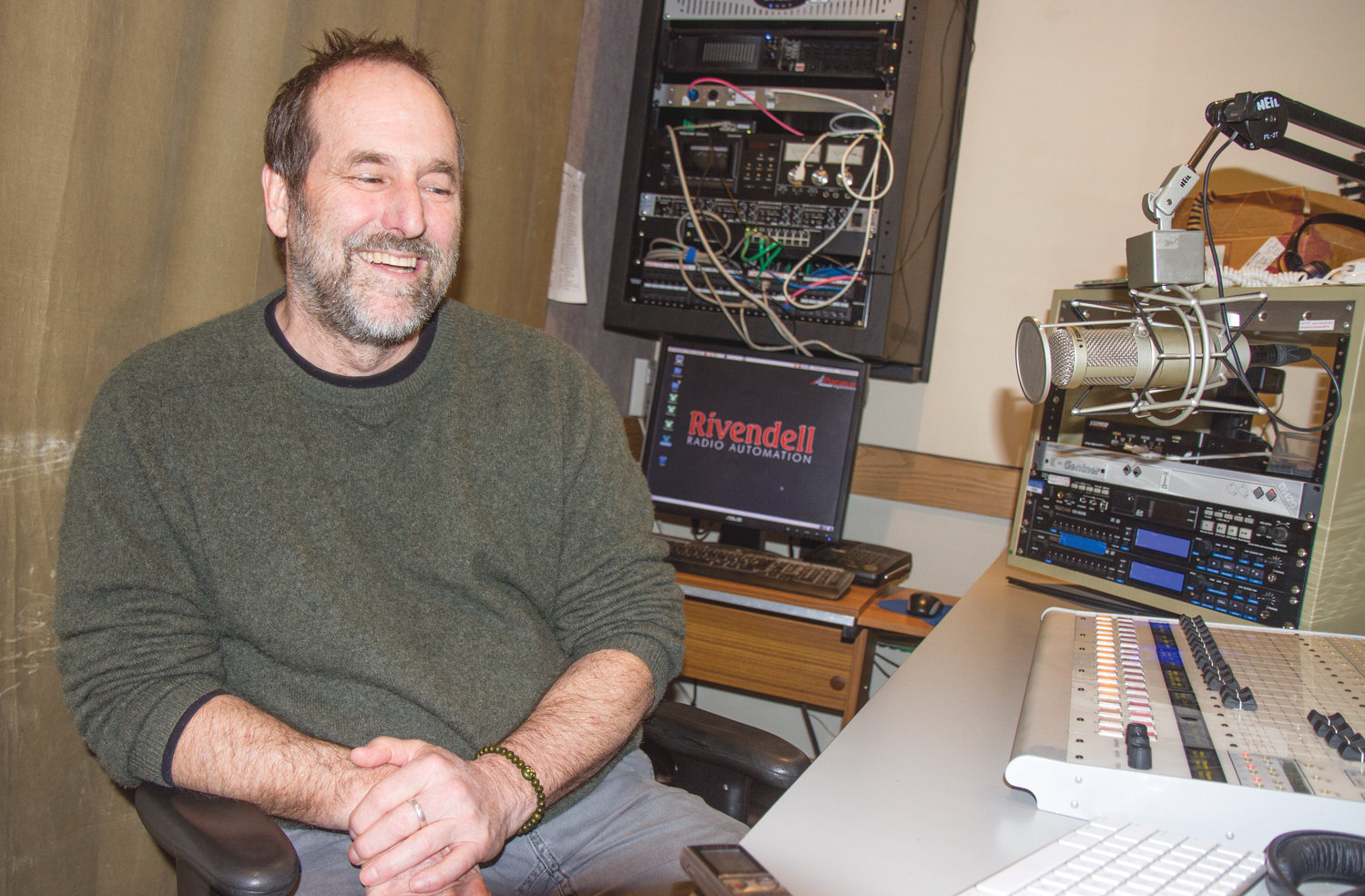 Taylor Clark, producer, works with Solley to polish each serial before it is aired on KPTZ.