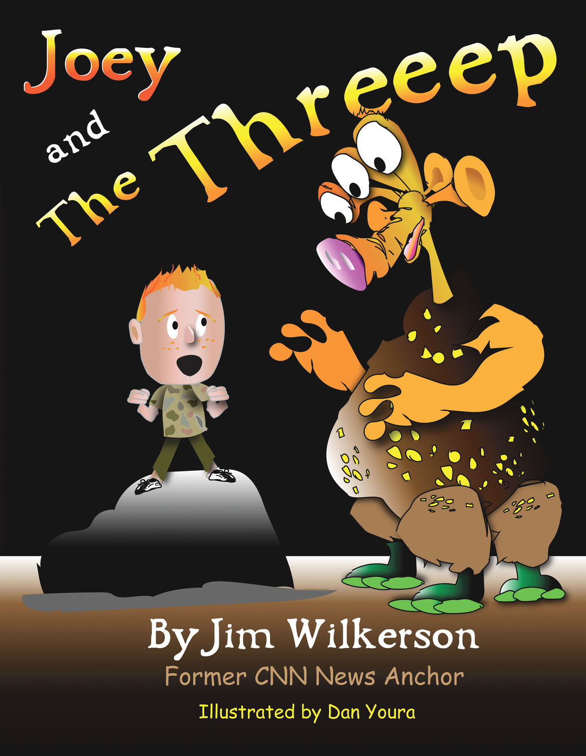 "Cover art of ""Joey and the Threeep,"" follows a red-headed boy who meets an irradiated creature with three eyes, three ears, three fingers, three legs and three toes."