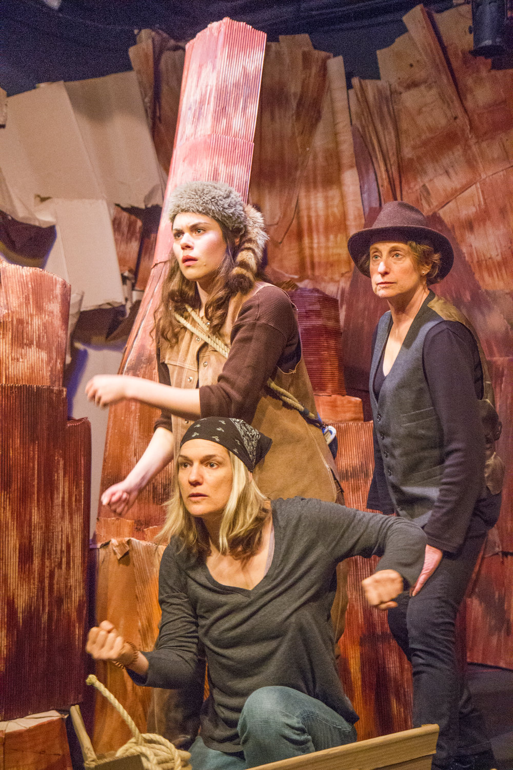 "Aboard the ""Emma Dean,"" actors Rosaletta Curry, Karen Anderson and Michelle Hensel navigate the waters of the Colorado River in the play, ""Men On Boats."" Leader photo by Lily Haight"