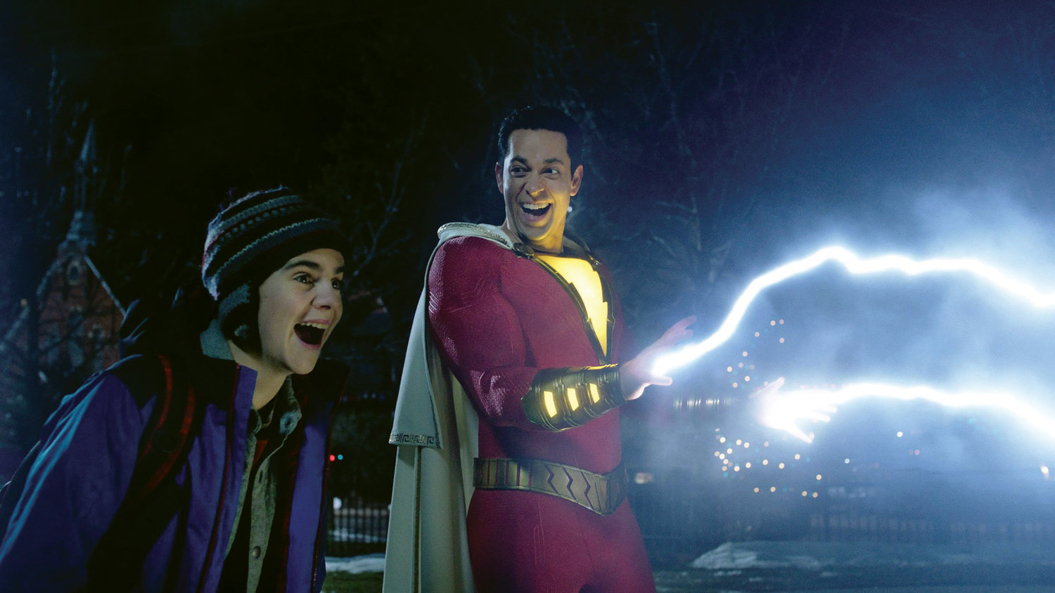 "Freddy Freeman (Jack Dylan Grazer) is blown away by the powers of Billy Batson (Zachary Levi) as ""Shazam!"""