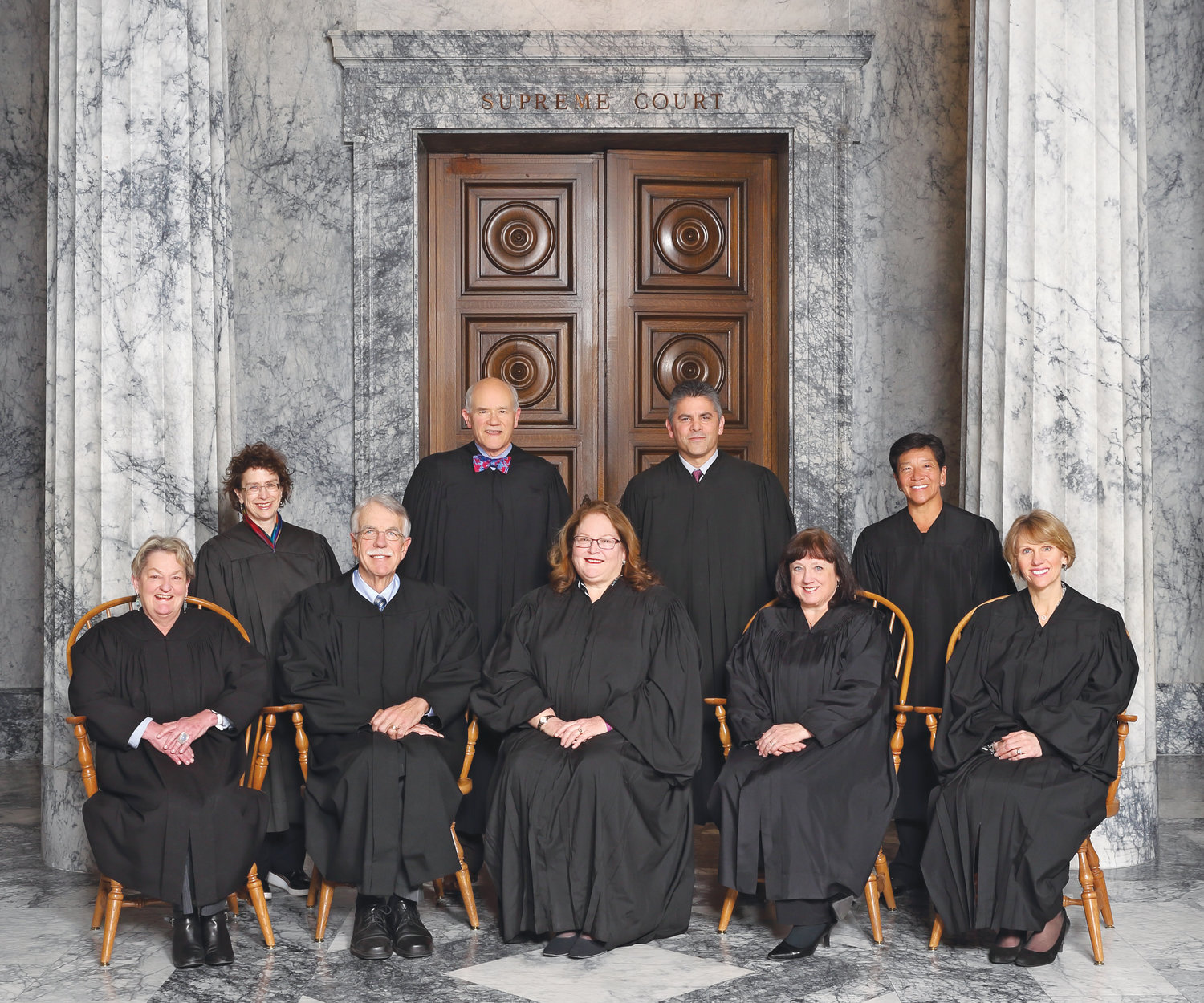 Chief Justice Fairhurst and Associate Justices Charles Johnson, Barbara Madsen, Susan Owens, Debra Stephens, Charles Wiggins, Steven González, Sheryl Gordon McCloud and Mary Yu will hear three cases at the Jefferson County courthouse May 14.