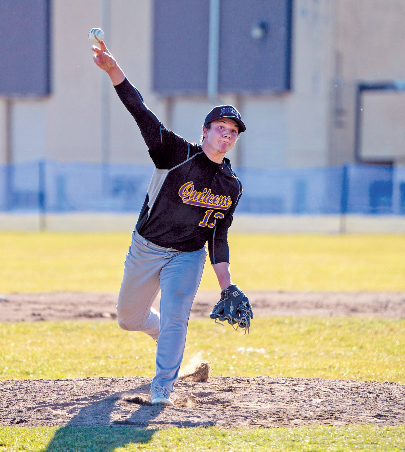 Quilcene's Olin Reynolds pitches during a Monday game against Chimacum at Chimacum High School.