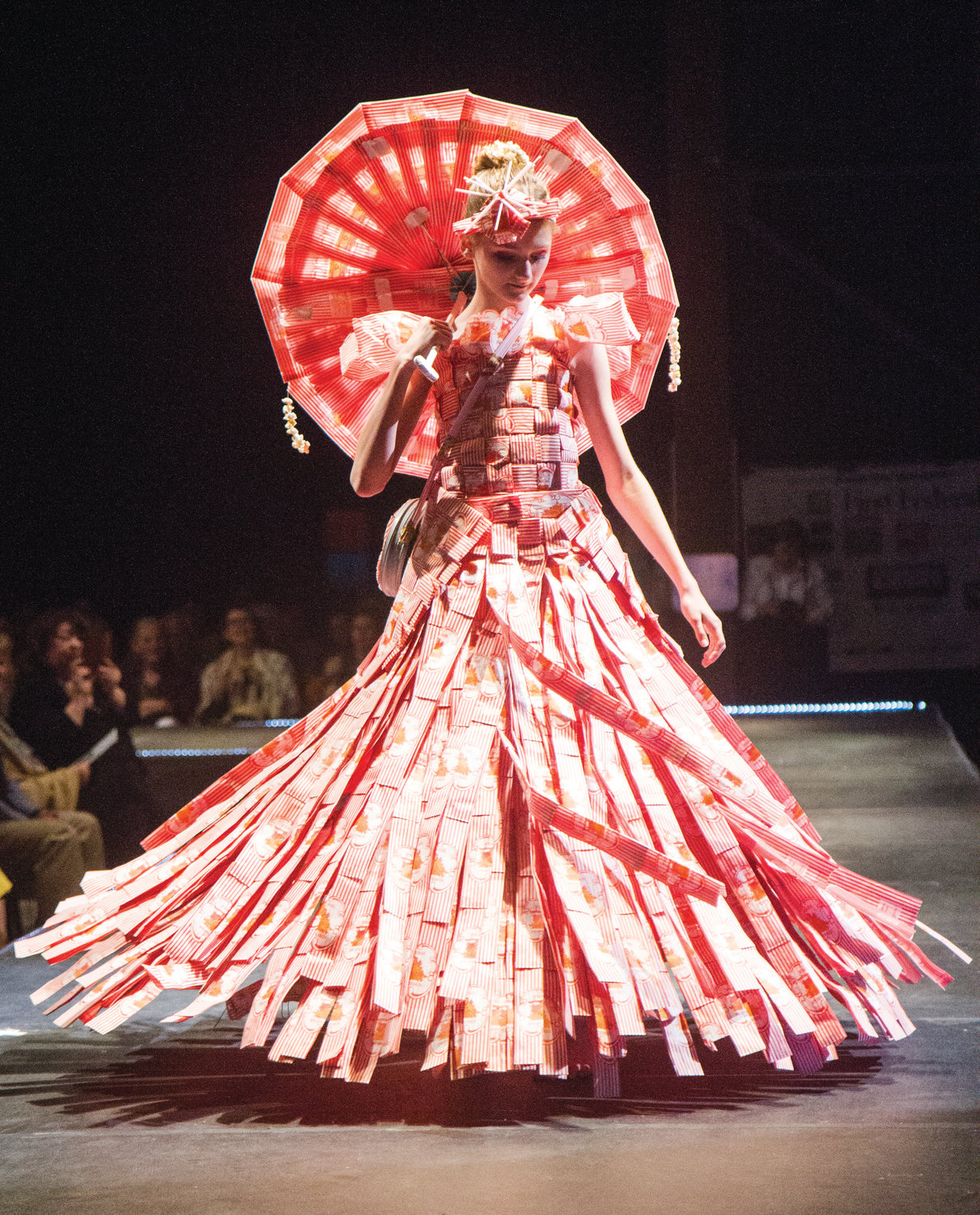 Sixteen-year-old Elvira Erickson created this dress out of popcorn bags, inspired by her sister, model Ava Erickson's, favorite snack.