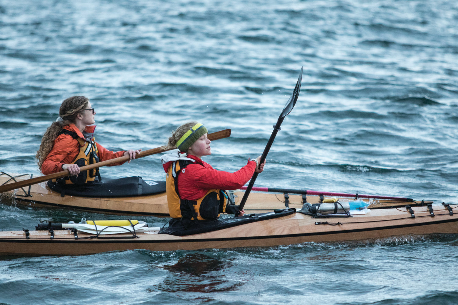 Michelle Knowlen and Lauren Brandkamp are paddling the Proving Grounds, racing from Port Townsend to Victoria in Pygmy kayaks.