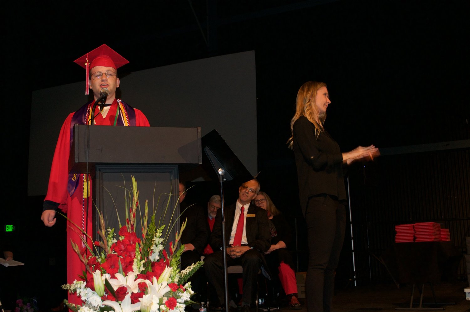 Port Townsend 2019 Valedictorian Raphael Bakin made the audience laugh by poking fun at common graduation speech cliches before reversing course and deciding they are the best way to go.