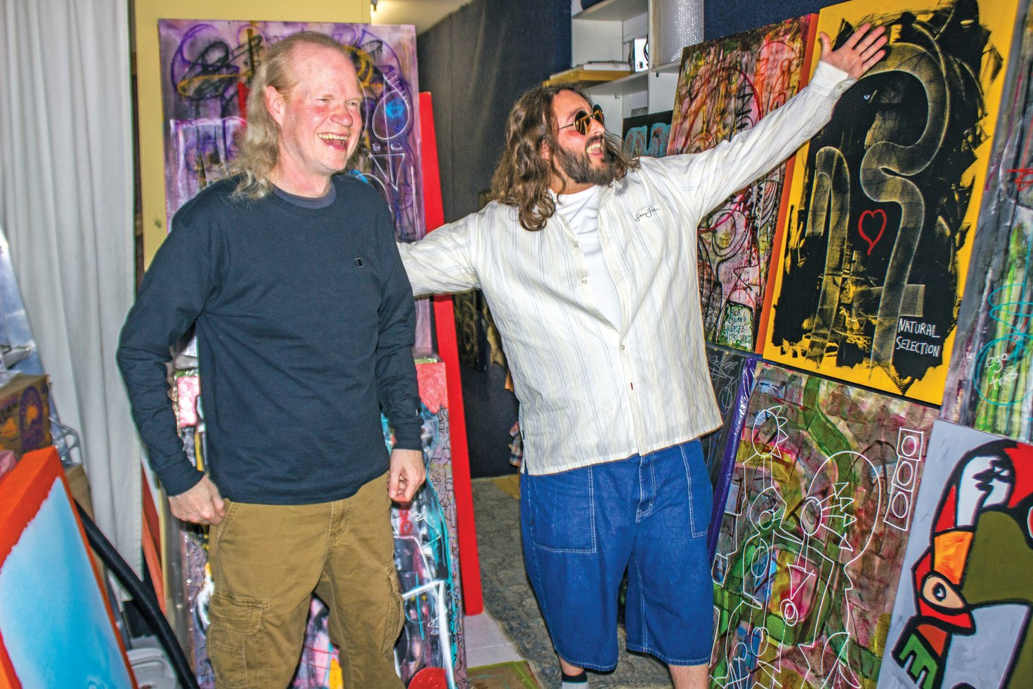 "Painter Milo Redwood, left, and hip hop performer/producer Wyeth ""B"" Barclay, are crossing the generational streams to introduce Milo's contemporary art to the world."