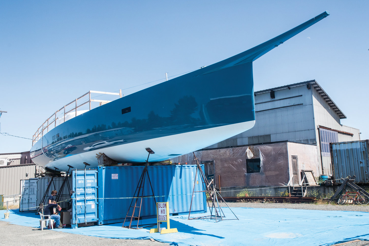 The 88-foot T4 is a racer/cruiser with yacht fit and finish below, and high tech racing rigging above deck. The project is nearing completion at the Port Townsend Boat Haven.