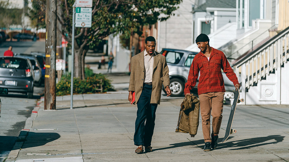 "From left, Mont (Jonathan Majors) and Jimmie (Jimmie Falls) skate through the city in ""The Last Black Man in San Francisco."""