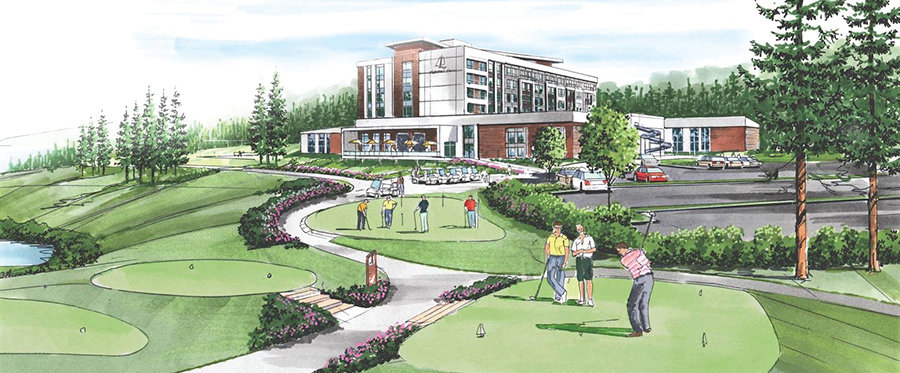 This artist's rendering from Pleasant Harbor Resort's website shows the future vision for the resort, with a 9-hole golf course and recreation center on Black Point.