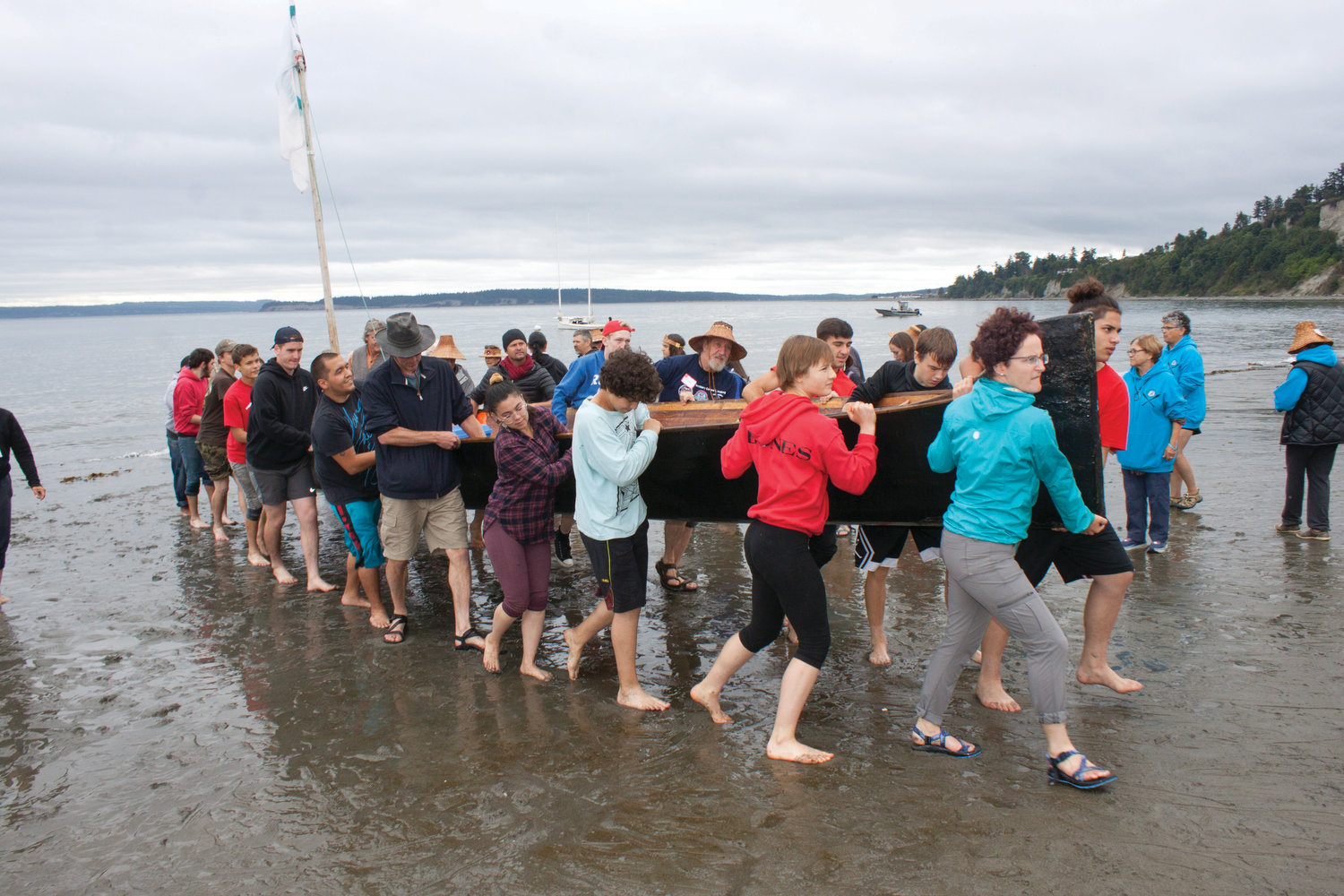 Tribes from across Western Washington landed on the shores of Fort Worden July 17. Port Townsend is one stop along the journey, which will end at Lummi Island.