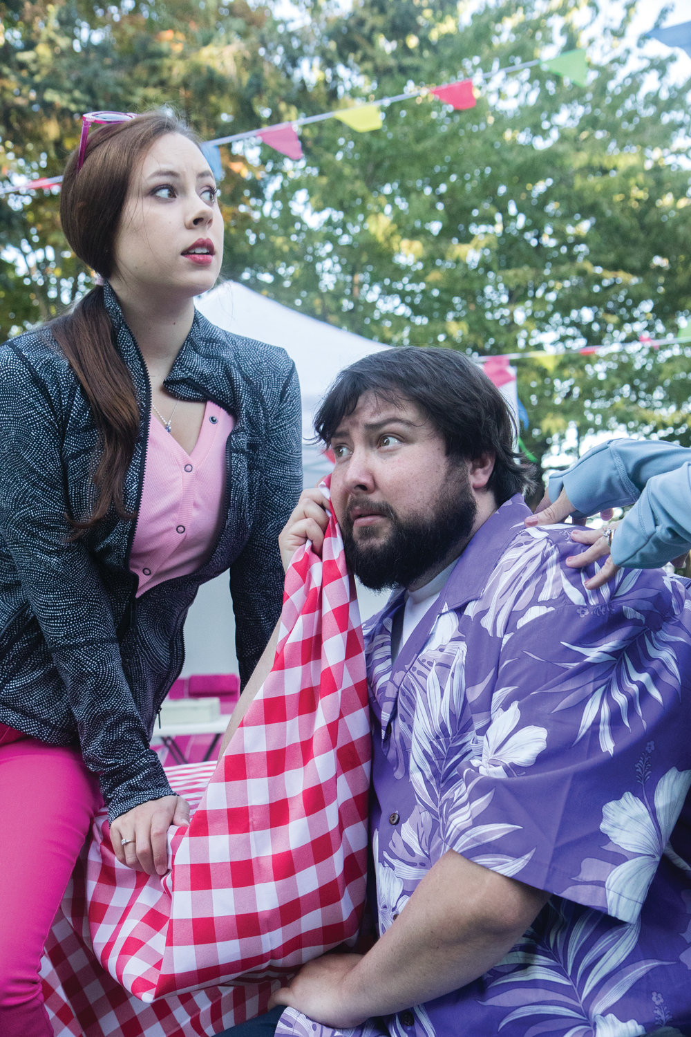 Key City Public Theatre Actor Brendan Chambers plays the fat knight, Sir John Falstaff, while Krista Curry plays one of the merry wives who fools him.
