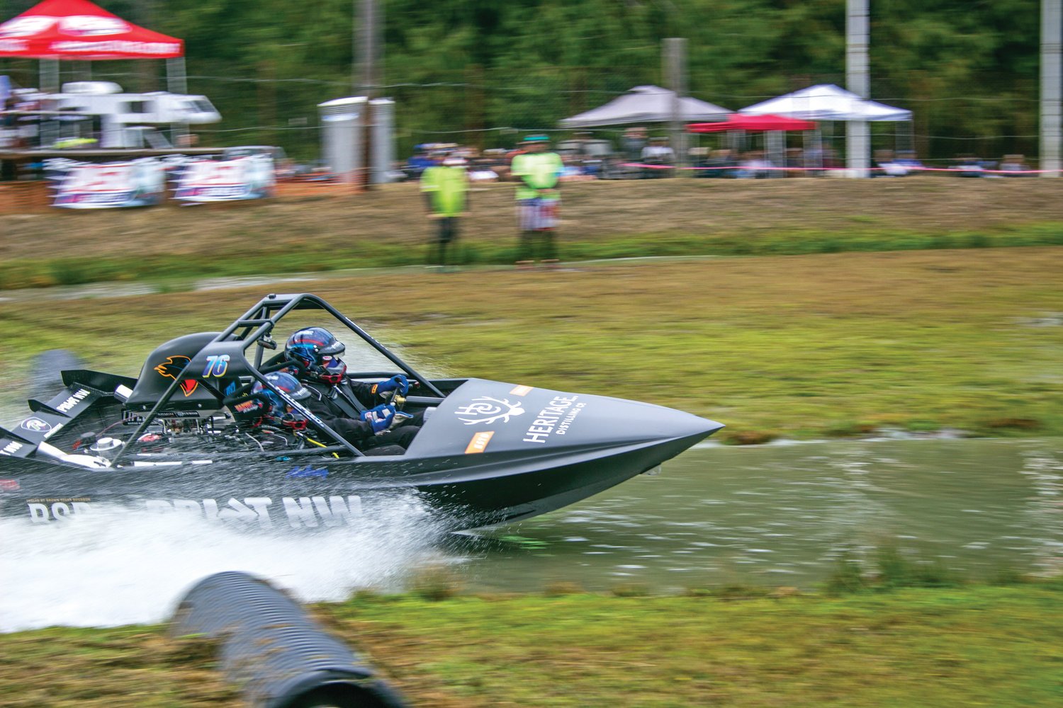 The Print Northwest Boat accelerates quickly out of its starting gate during the races Sept. 7 at Extreme Sports Park Port Angeles.