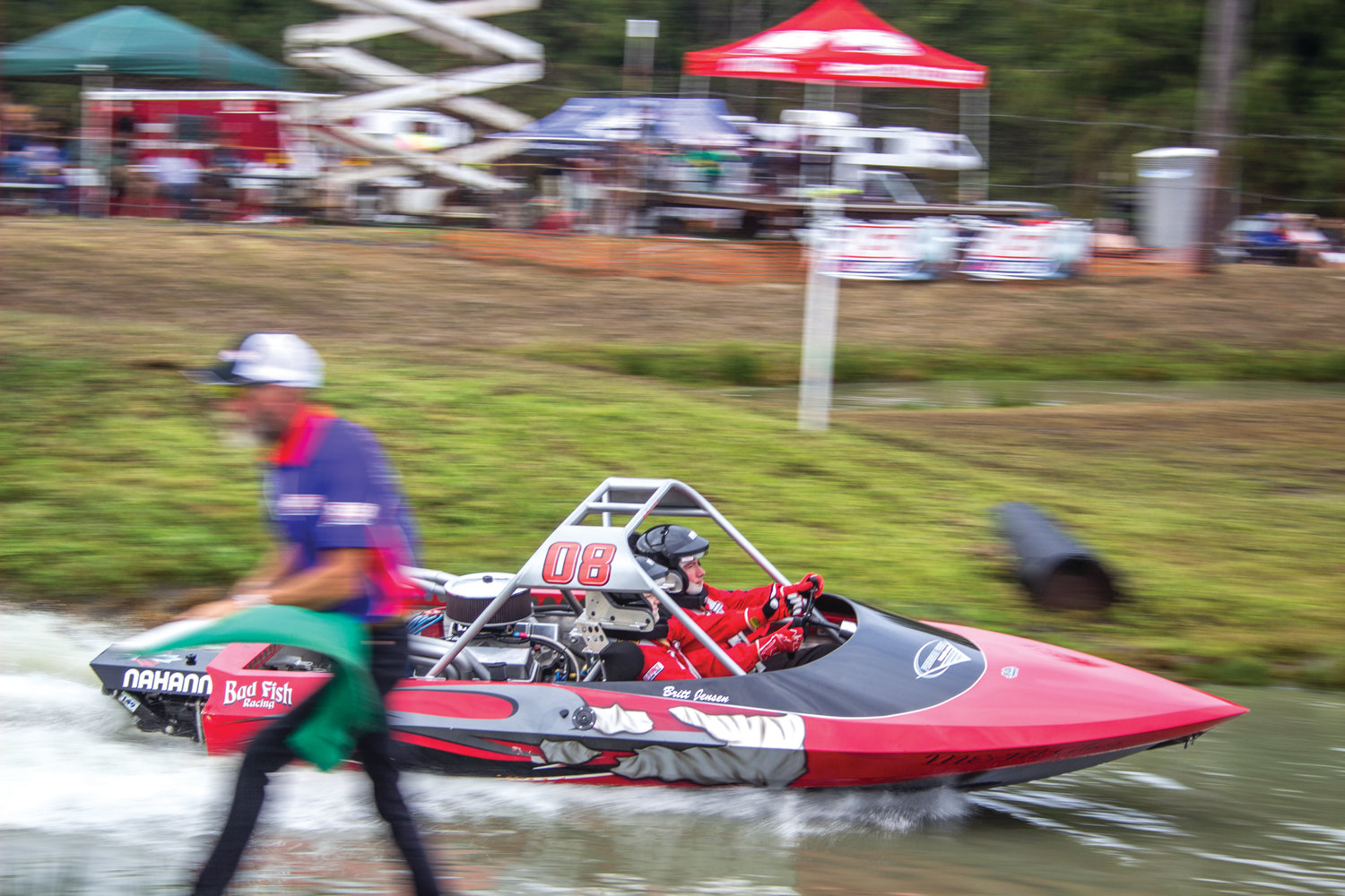 Scott Jensen of Bad Fish racing launches from the starting gate in his #8 boat.