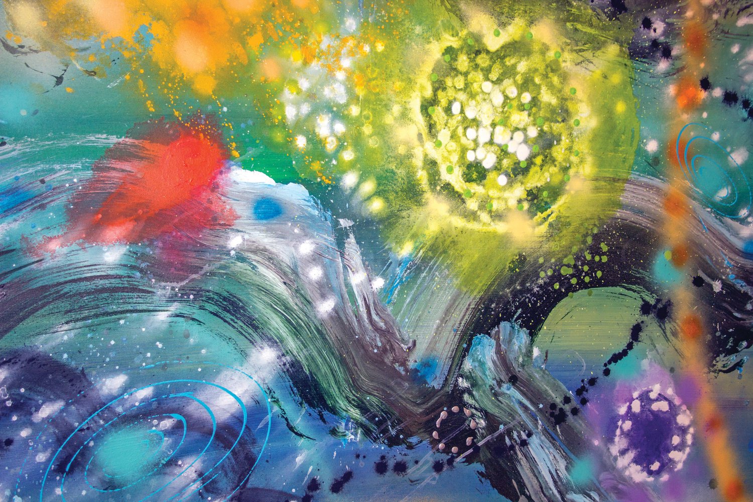 "This painting by Stephen Yates, titled ""Cosmic Adventure III,"" could be spacial phenomena or amoebas under a microscope."