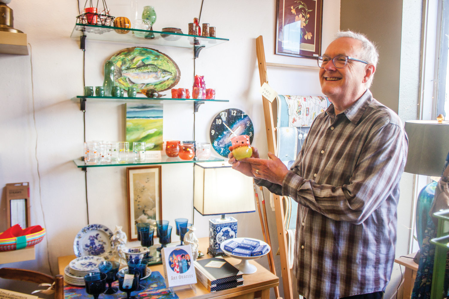 Glenn Lyons, of Summer House Design, shows off some of the glass-blown sculptures he's made over the past 20 years.