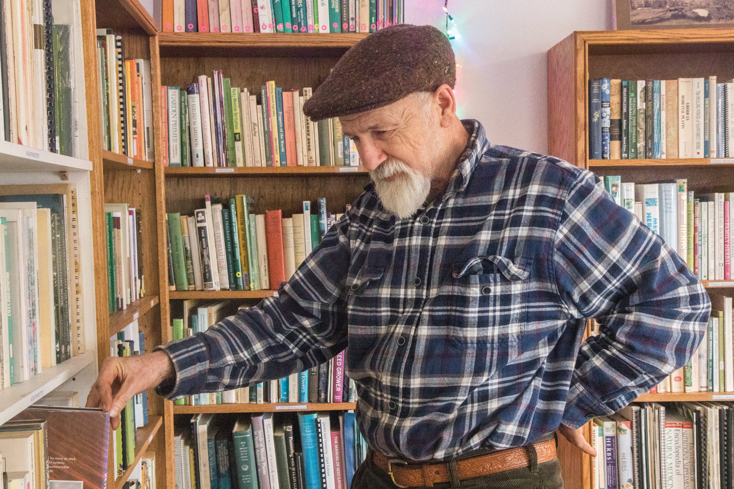 Michael Pilarski, a farmer and advocate for regenerative agriculture, has opened a reference library of books on farming practices, plants, trees, climate and more.