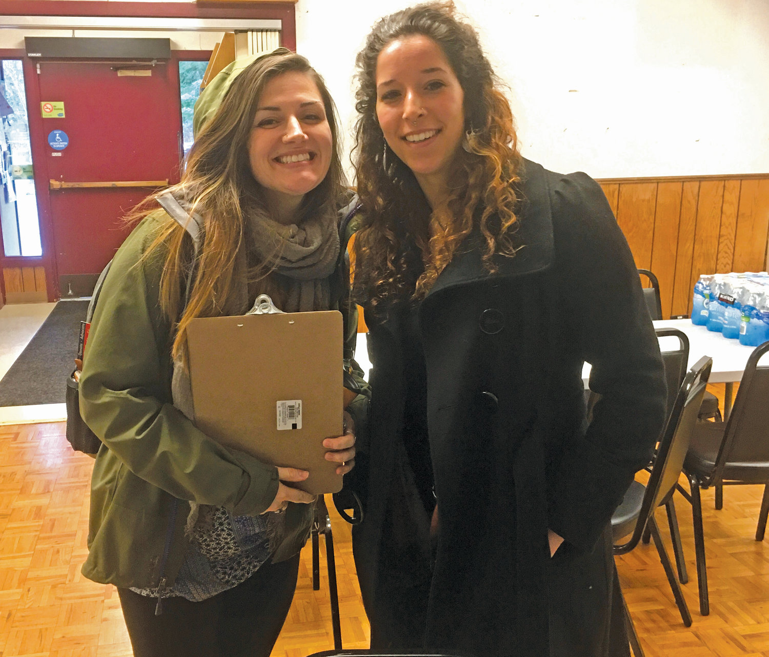 Samantha Troxler, a housing manager and operations manager at OlyCAP and Rebecca Ramsey, who is leading a youth project at OlyCAP volunteered at the Tri-Area Community Center to engage people in the Point-In-Time count. Photo courtesy Allison Arthur