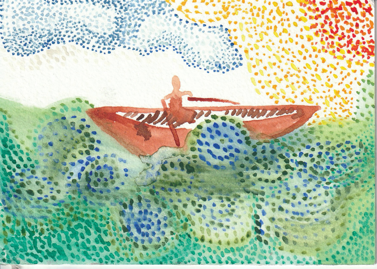 Aleta Greenway's postcard depicts a person in a boat.