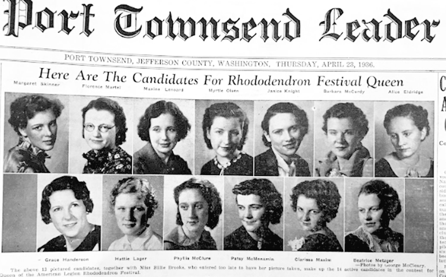 The Leader published photographs of the candidates for Rhododendron Festival Queen on the front page for many years, starting with the first festival in 1936.