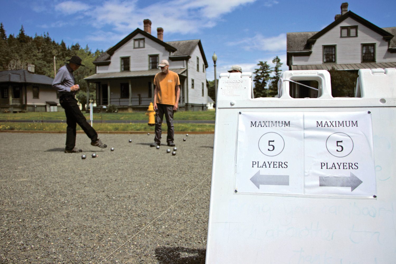 Among the COVID-19 protocols adopted by the Port Townsend Pétanque Alliance to continue play is the rule that no more than five players may be on one court at any time.