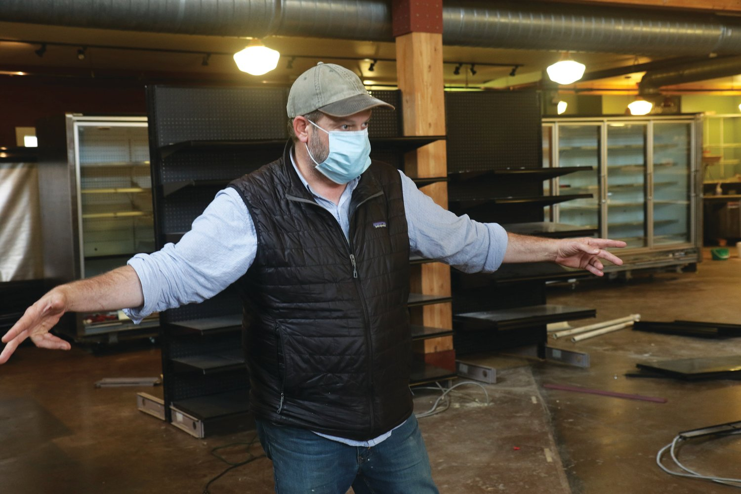 Yos Ligtenberg, the new co-owner of Aldrich's Market, explains his vision for the store's interior layout, which is currently in 