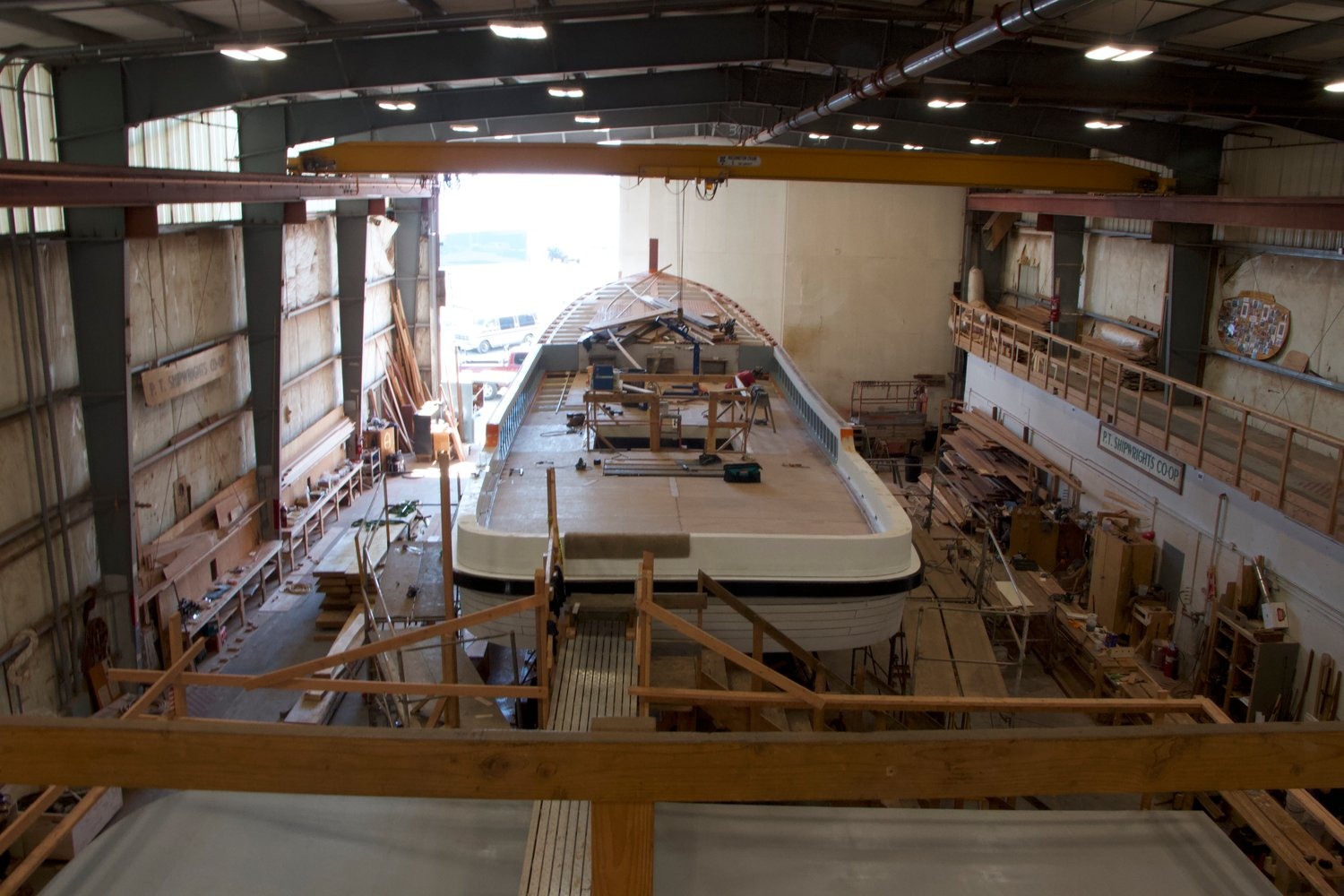 The Western Flyer, photographed from the stern as it undergoes repairs at the Port Townsend Shipwrights Co-Op.