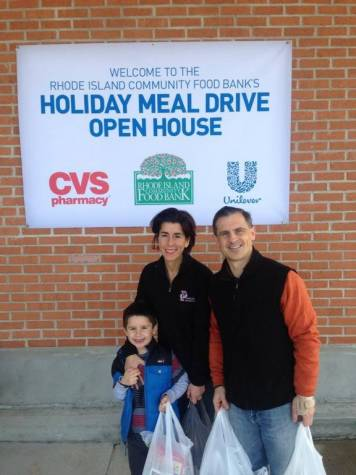 Treasurer Raimondo with her son, Tommy Moffit and her husband, Andy Moffit.