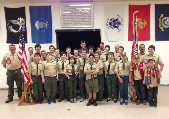 Troop 55 Riverside with Post Commander Mike Reed