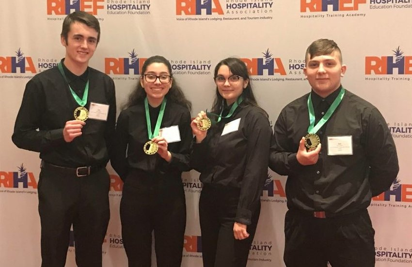L to R, Kyle Duggan, Michelle Moniz, Adriana Peixoto and Kyle Xavier. East Providence High School has earned 1st place in the RI ProStart Management competition for culinary arts & restaurant management.
