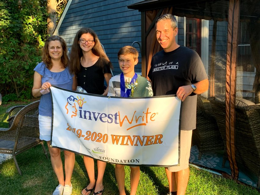 Evan Gendreau of Seekonk, Ma. with his parents, Michael and Melanie and sister Kelsey were surprised at their home by Evan's teacher Laura Doliber and Principal Lee Ann Nunes