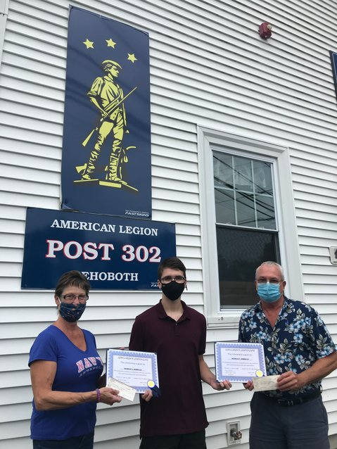 left to right, Lisa Lamborghini representative for the American Legion Auxiliary  Handing a check to Nicholas Borrello (center) and the Adjutant Jake Kramer from the American Legion.