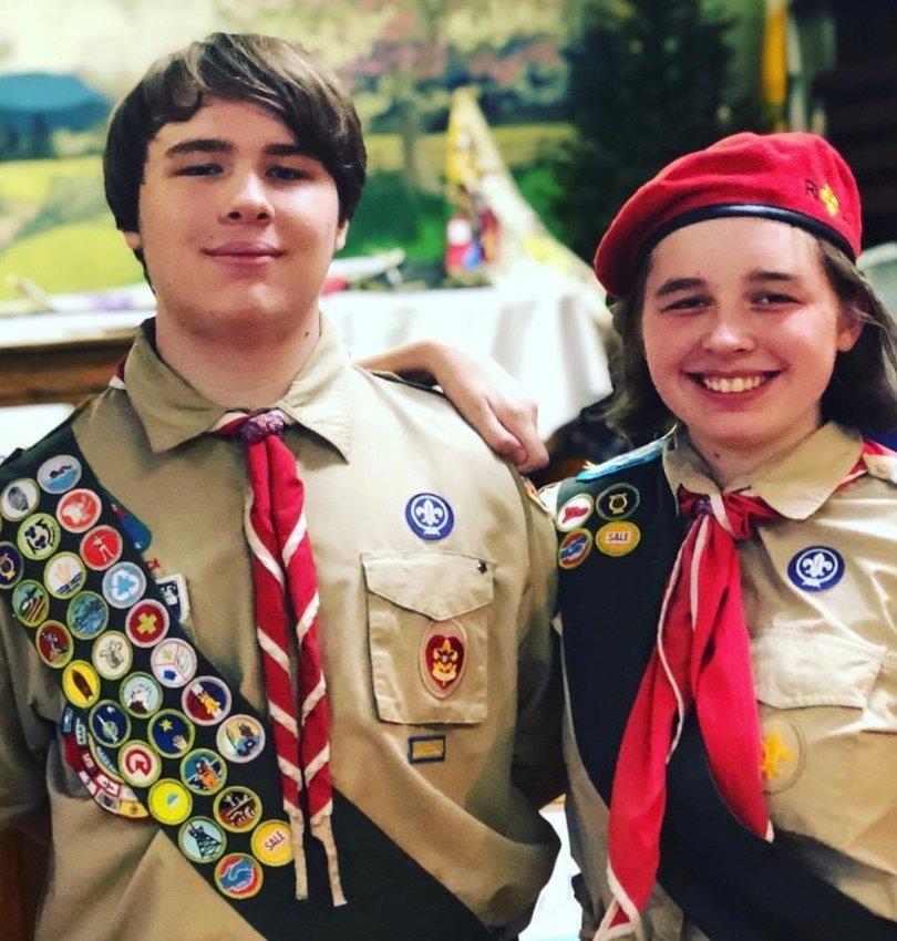 Chapman White, the Senior Patrol Leader (SPL) of Troop 55 Riverside and his sister Eliza White, Senior Patrol Leader (SPL - youth leader) of Scouts BSA Troop 55 Riverside Girls