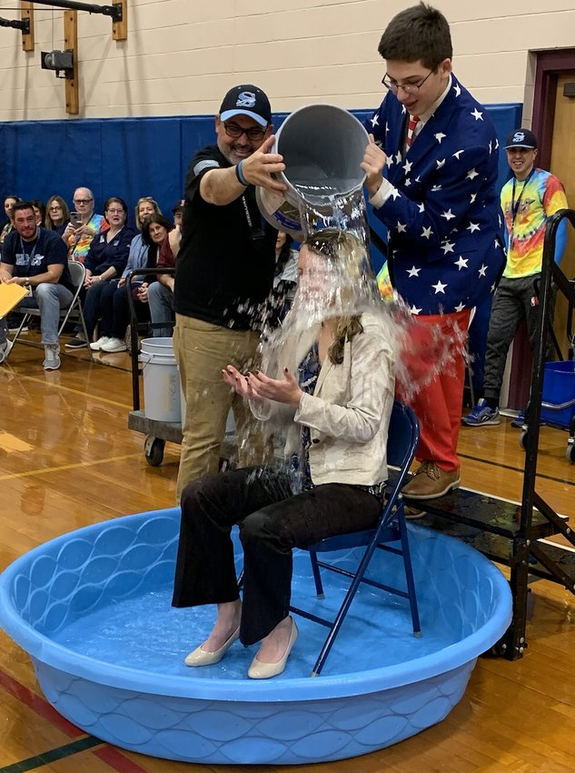 Hurley Middle School Principal Alexis Bouchard participated in last year's annual Thanksgiving Dunking Fundraiser.