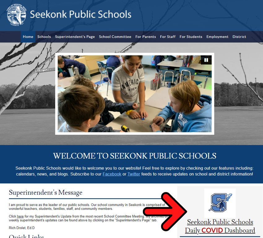 Community members can access the COVID-19 daily dashboard on the homepage of the district's website