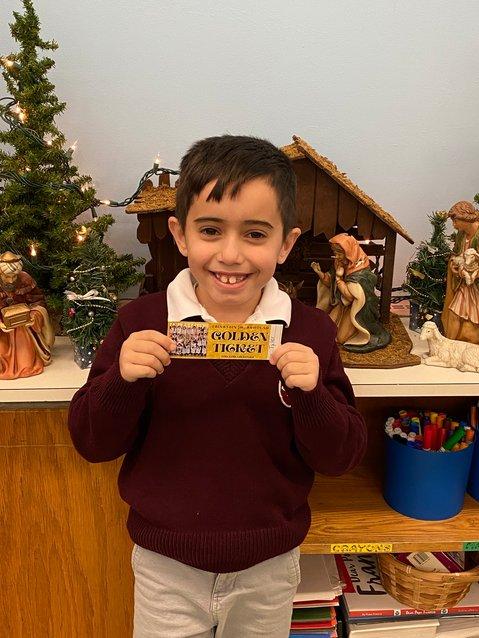 Tyler Bernardo - Golden Ticket Winner at Sacred Heart School