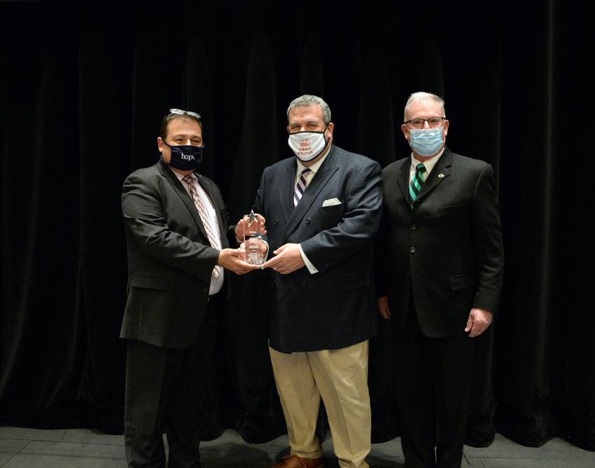 From the left: House Speaker K. Joseph Shekarchi (D-Dist.23, Warwick), Rep. Gregg Amore (D-Dist. 65, East Providence), and Rep. Joseph M. McNamara (D-Dist. 19, Warwick, Cranston) at the 2021 Paul Crowley Award presentation