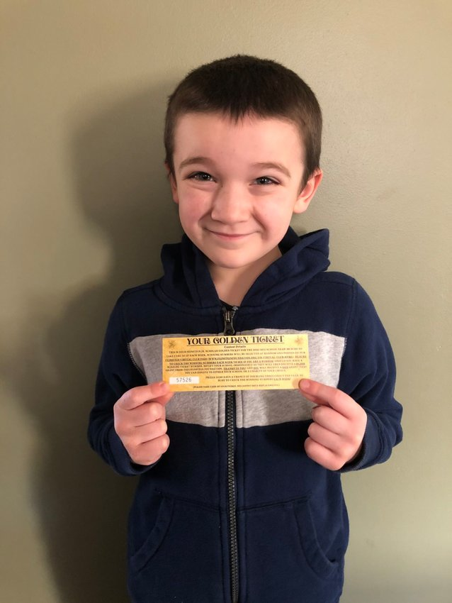 Aitken Elementary second-grader Connor Gallagher's Feinstein Foundation Jr. Scholar Golden Ticket was selected as the winning ticket during the week of March