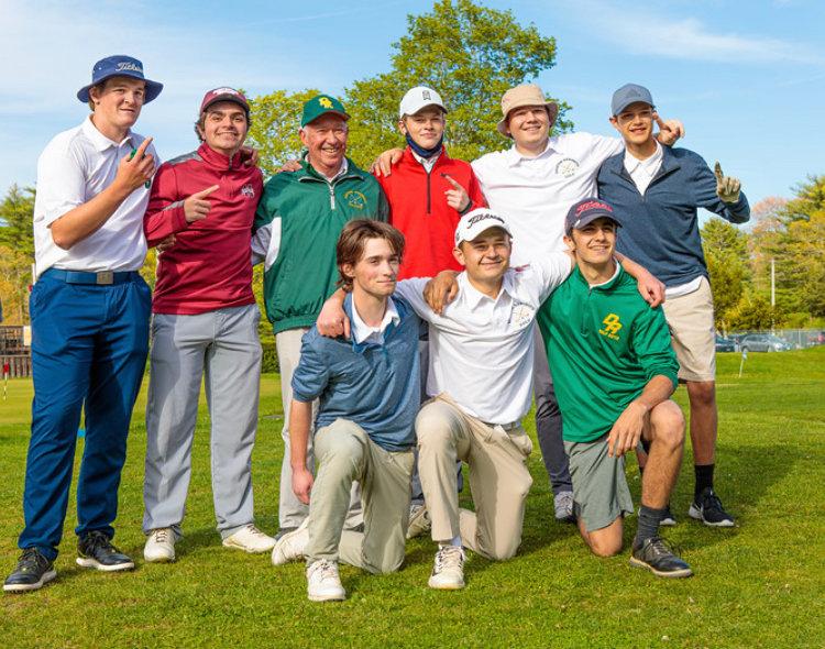DR Golf Team Celebrates SCC Championship Win!  Peter Torres, Captain Harrison Tarain, Coach Bill Cute, Mitchell Bushell, Sam Watts, Jordan Dietz, Peter Anghinehtti, Captain Benjamin Horowitz, Andy Machado